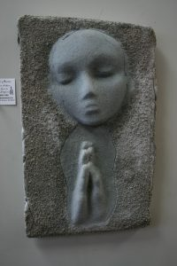 A Prayer Lady 2; Dyed & Textured Concrete - $125 - SOLD