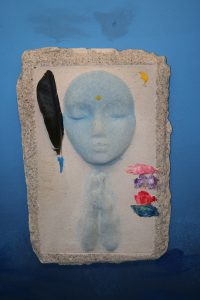 A Prayer Lady 8; Dyed Concrete with Feather & Prayer Flags - $130 - SOLD