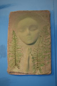A Prayer Lady 91; Dyed Concrete with Ferns - $130 - SOLD