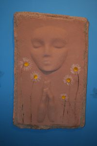 A Prayer Lady 92; Dyed Concrete with Daisies - $130 - SOLD