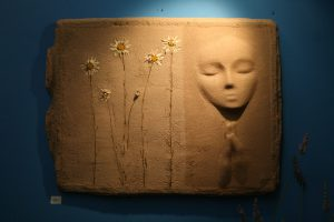 A Prayer Lady 93; Dyed Concrete with Daisies - $175 - SOLD