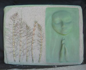A Prayer Lady 95; Dyed Concrete with Ferns - $175 - SOLD