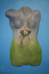 A Prayer Lady Torso Green; Dyed Concrete (Necklace Sold Separately) - $225 - SOLD