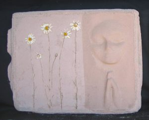 A prayer Lady 94; Dyed Concrete with Daisies - $175 - SOLD
