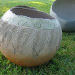 Egg terra-cotta Scribed