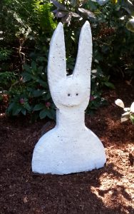 "Rabbit 2; 2019, Concrete; 2'H x 1'W x 3""D; @ Karla Matzke Gallery e"