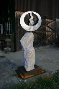 "Wellspring; 2008, Stainless Steel, Copper, Steel, Stone; 6'6""H x 2' x 3'; $6,500 - SOLD"