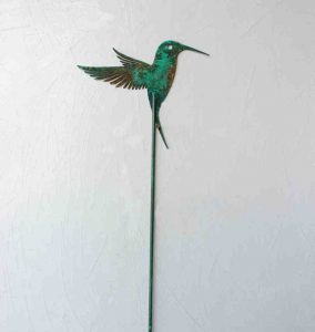 "Patinated Garden Hummer; Garden Stake - 18""-30"", Painted Steel - $30"