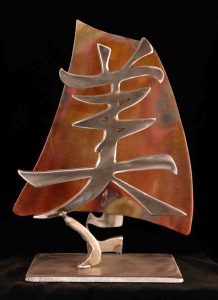 "Beauty Kanji; Stainless Steel, Heat-Treated & Clear-coated Copper, - 1/4"" x 7"" x 9"" - $175"