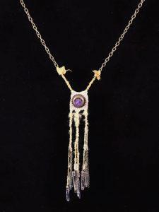 Amethyst; Woven Hemp, Bronze, Glass, BrassChain, Copper, Hemp-woven dyed cord - $95