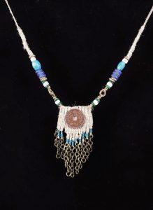 One Penny; Woven Hemp, Bronze,BrassChain, Hemp-woven dyed cord - $85