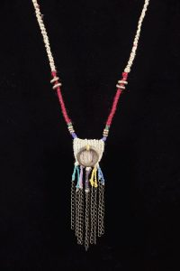 Red Ring; Woven Hemp, Bronze,BrassChain, Copper, Hemp-woven dyed cord - $85
