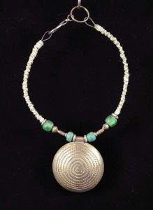 Spiral Shield; Bronze, Brass & Glass Beads, Hemp wrapped wire - $140