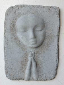 Prayer Lady #15; Dyed Concrete - $125