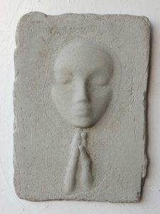 Prayer Lady #14; Dyed Concrete - $125