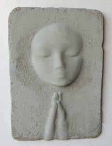Prayer Lady #13; Dyed Concrete - $125
