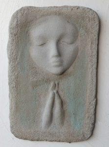 Prayer Lady #12; Dyed Concrete - $125