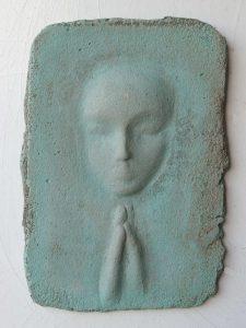 Prayer lady #11; Dyed Concrete - $125