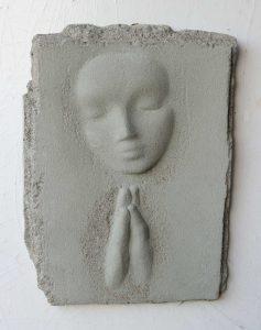 Prayer Lady #10; Dyed Concrete - $125