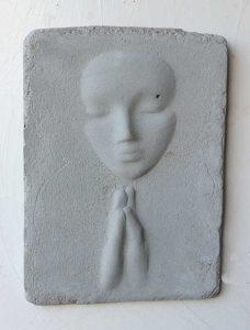 Prayer Lady #8; Dyed Concrete - $125