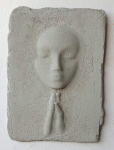 Prayer Lady #7; Dyed Concrete - $125