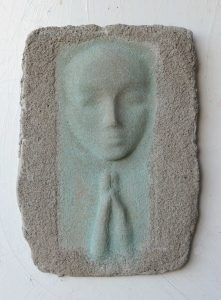 Prayer Lady #6; Dyed Concrete - $125