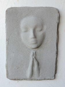 Prayer Lady #5; Dyed Concrete - $125