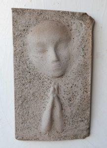 Prayer Lady #3; Dyed Concrete - $125