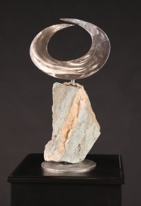 """Ascension; 2018; Stainless Steel, Metamorphic Stone; 21' x 11' x 8""""; $850"""