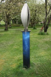 """Invision III; 2016; Stainless Steel, Painted Steel; 7'2"""" x 18"""" x 18""""; $4,200"""