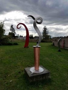 """Dancer II; 2020; Stainless,copper; 7'x30""""x30""""; $7,500"""