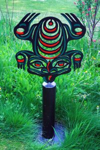 """Frog; Hand Painted Steel on Stand; 57""""x24"""" x 12""""; $650"""