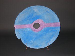 """Blue Disc; Painted Concrete; 28""""Dia x 3""""W; SOLD"""